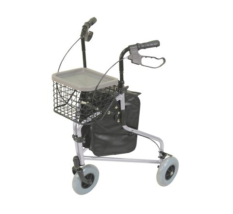 Lightweight Tri Walker with Bag and Basket (Colour Silver)