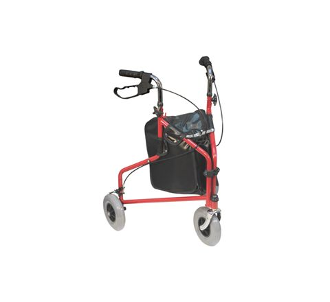 Three Wheeled Steel Walker (Colour Red Configuration Without Bag)