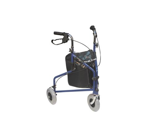 Three Wheeled Steel Walker (Colour Blue Configuration Without Bag)