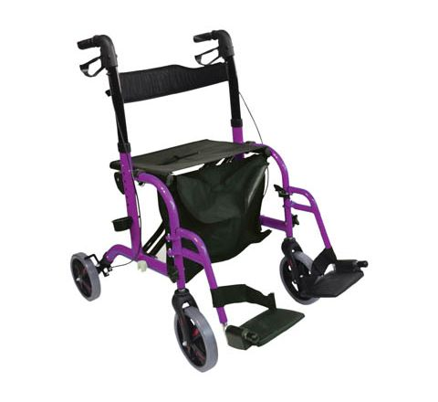 Aidapt Duo Deluxe Rollator and Transit Chair in One (Colour Purple)