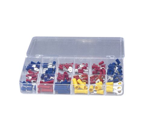 Crimp Terminal and Connector Kit with 100 Assorted Terminals (Number of Crimps 150)